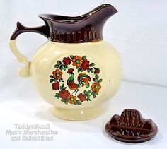McCoy Pitcher Shaped Cookie Jar Canister Rooster 202 Brown Cream Vintage Country