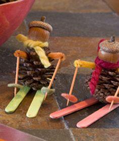 Pinecone and acorn mini skiers