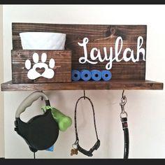 Dog Leash Holder, Dog Leash Hanger, Dog Leash Hook, Dog Collar Sign, Personalized Dog Sign, Dog Collar, Pet Signs, Dog Treat Jar  This personalized dog