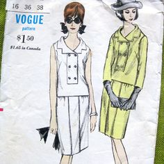 1960s Vintage VOGUE Sewing Pattern  Vogue 6357  by SelvedgeShop