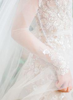 Inspiration Robe du Mariage : Description Stunning sheer beaded wedding dress: www. French Wedding, Dream Wedding, Parisian Wedding, Bridal Gowns, Wedding Gowns, Wedding Veil, Diy Wedding, Wedding Favors, Wedding Decorations
