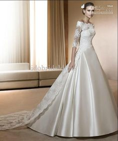 Wholesale Fashion satin with detachable jacket with long train wedding dress bridal gown wedding gown, Free shipping, $162.4-173.6/Piece | DHgate