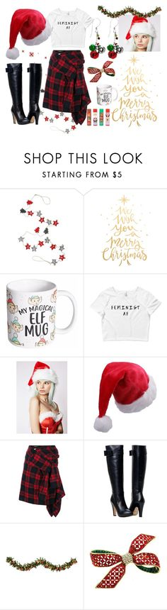 """""""Santa Baby"""" by wearyourdissent ❤ liked on Polyvore featuring M&Co, Holiday Lane, Leg Avenue, Dsquared2, Improvements, Forever 21, xmas and feminists"""