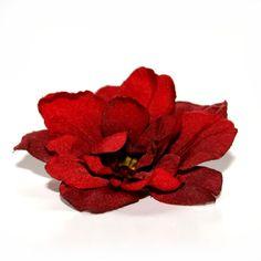 3 Deep Red Silk Delphinium Blossoms - Silk Flower Heads, Artificial Flowers $3.50