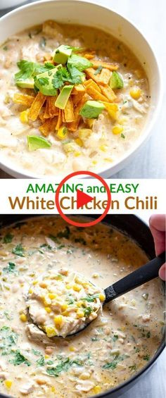 Creamy White Chicken Chili is so easy it can be made on the stovetop, in the slow cooker, or the instant pot. I love to use leftover chicken, making this a super fast weeknight meal! #bakedchickenrecipes #groundturkeyrecipes Creamy White Chicken Chili, Crockpot White Chicken Chili, Canned Chicken, Slow Cooker Creamy Chicken, Keto Chicken, Can Chicken Recipes, Leftover Chicken Recipes, How To Cook Chicken, Slow Cooker Chili