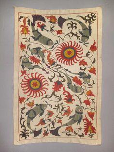 Uzbek Silk handmade embroidery small Amazing Bukhara suzani fishes