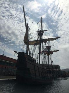 San Diego pirates plunder wharf. Cabrillo's San Salvador, first European boat to explore California coast.