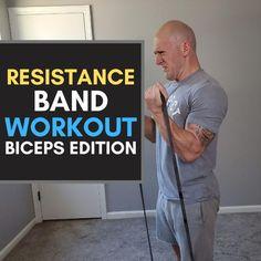 Biceps Workout At Home, Lean Body Workouts, Arm Workout Videos, Body Workout At Home, Resitance Band Workout, Band Workouts, Gym Workouts, Resistance Band Training, Resistance Band Exercises