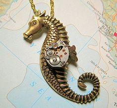 Steampunk Necklace Nautical Seahorse Gothic Victorian Art Deco Design with Vintage Antique Watch Movement.