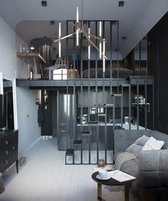 Small black and white loft by Max Lykasov & Tatiana Shishkina via Behance