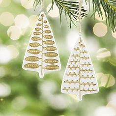 Porcelain Stamped Tree Ornaments