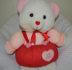"I Love You Teddy Bear Plush Nylon Silky Heart Red White  Stuffed Vintage 16"" #Unknown"