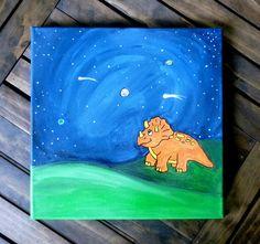 Dinosaur Wall Art Triceratops painting Dinosaur by Nursery Paintings, Nursery Art, Nursery Decor, Dinosaur Nursery, Dinosaur Art, Letter Wall, Letters, Boy Decor, Drakes Bday