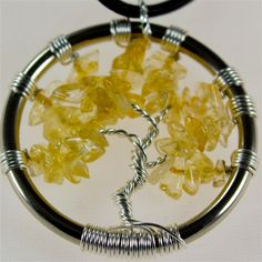 Citrine Tree of Life pendant with leather necklace  $35.00