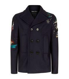 Men: Coats & Jackets Valentino Embellished Tattoo Pea Coat
