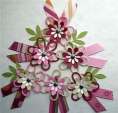New 6 Paper Flower Embellishments. American Crafts Downtown Pink with Ribbon. 3D