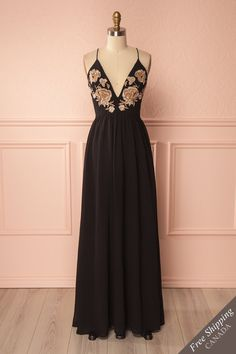 Emere Black Embroidered Beads Maxi Dress | Boutique 1861