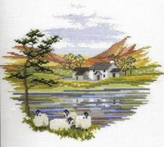 """Lakeside Farm Cross Stitch Kit from Derwentwater Designs """"Lakeside Farm Cross Stitch Kit by Derwentwater Designs"""", """"Charming and free autumn/winter cros Cross Stitch House, Counted Cross Stitch Kits, Cross Stitch Charts, Cross Stitch Designs, Cross Stitch Patterns, Cross Stitching, Cross Stitch Embroidery, Cross Stitch Numbers, Cross Stitch Landscape"""