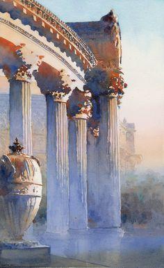 Palace of Fine Arts Colonnade, San Francisco, watercolor by Michael Reardon