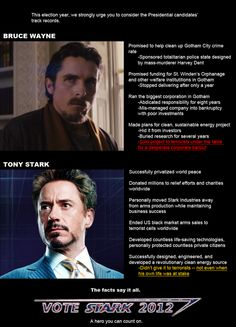 Tony Stark blows up terrorists for YOU. Why do you think I wore my Stark/Rogers 2012 shirt to the polls today?