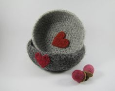 LOVE Set of Two Crochet and Felted Bowls in charcoal by elfinhouse, $26.00