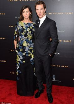 Rare outing: The Sherlock star was joined by his beautiful new fiancee Sophie Hunter...