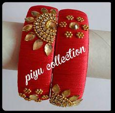Pinterest :@achyi Silk Thread Bangles Design, Silk Thread Necklace, Silk Bangles, Thread Jewellery, Paper Jewelry, Diy Jewelry, Beaded Jewelry, Bangles Making, Jewellery Making