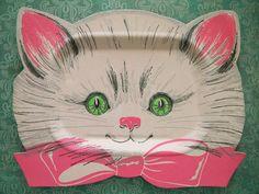 9 Vintage Kitty Cat Paper Plates Birthday by SongbirdSalvation