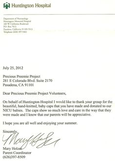 huntington hospital thank you letter to our precious preemie volunteers