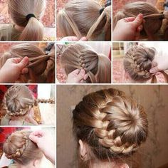 Cool french braid around bun tutorial. Verry beautiful