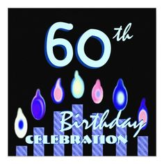 60th Birthday Party Blue Striped Candles Square Invitations