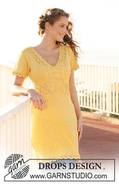 """DROPS dress in """"Muskat"""" with lace pattern, short sleeves and crochet borders. Size XS - XXL. ~ DROPS Design"""