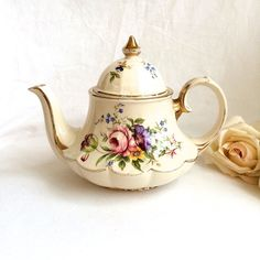 Antique Sadler teapot Floral and Gold Scalloped by Kimscottageloft