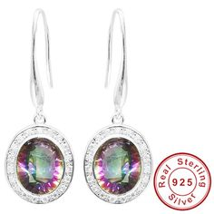 5.9ct Natural Rainbow Fire Mystic Topaz Dangle Earring – Gemstonese