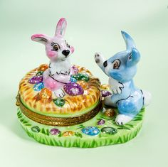 Limoges Two Baby Easter Rabbits with Eggs Box
