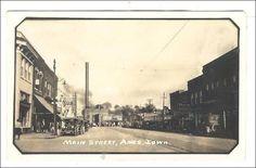 RP: Main Street , AMES , Iowa, Drug store-right, Coca Cola , 1910-20s