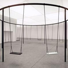 Philippe Malouin creates circular swing set with Caesarstone seats product interaction group interaction memorable event
