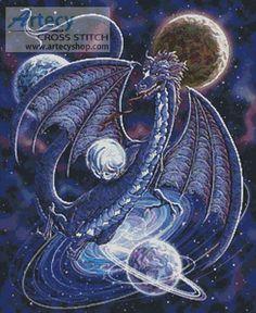 Artecy Cross Stitch. Celestial Dragon Cross Stitch Pattern to print online.