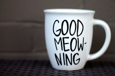 Ceramic Coffee Mug  Cat Design  Coffee Cup  Good by HappyAbout, $15.00