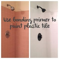 Use bonding primer to paint dated plastic tile for an instant bathroom makeover Decor tiles How to Tile a Shower Inexpensively