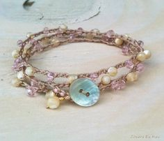 Pink Crystal and Mother of Pearl Crocheted Bracelet Wrap - Beachy Boho Stackable