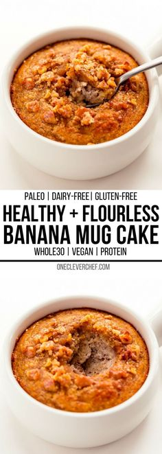 This healthy banana mug cake recipe is the perfect way to quickly satisfy your sweet tooth. This easy single serve dessert can be made either in the microwave for a simple 2-minute treat, or in the oven. This deliciously moist banana cake in a mug can also be enjoyed either as a breakfast or as a guilt-free snack. Gluten-free, grain-free, paleo and dairy-free. Vegan, whole30, conventional oven and protein options available. #glutenfreedessert #healthydessert #mugcake #paleodessert