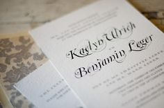 Font from dafont.com and paper from Papersource    Read more - http://www.stylemepretty.com/2012/01/30/newport-winter-wedding-by-snap-photography/