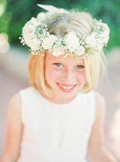 Adorable flower girl crown: http://www.stylemepretty.com/2016/04/12/a-laid-back-black-tie-wedding/ | Photography: Elyse Hall - http://elysehall.com/