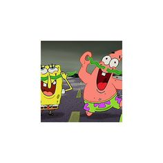 OMG, SPONGEBOB AND PATRICK HAVE SEAWEED MUSTACHES. ❤ liked on Polyvore
