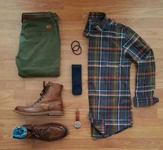 Outfit grid - Checked shirt