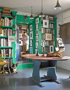 green bookshelves