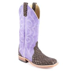 "Anderson Bean Loch Ness Monster Ladies Boots are 13"" tall with purple triad tops with scroll stitching. Perfection!"