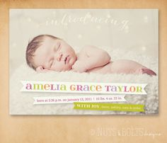 Baby Birth Announcement: Banners // Printable or Printed by TheMombot, $16.00