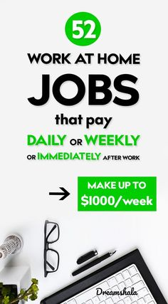 52 stupid-simple work at home jobs that pay weekly or daily. 52 work at home jobs that pay daily or Earn Money From Home, Earn Money Online, Way To Make Money, How To Make, Own Business Ideas, Best Home Business, Work From Home Opportunities, Work From Home Tips, Work At Home Jobs